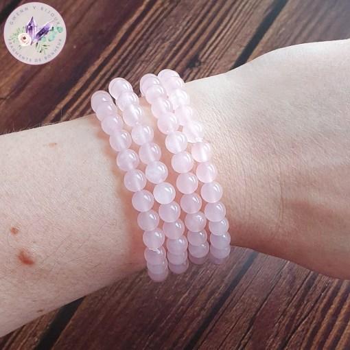 bracelet stretch en quartz rose