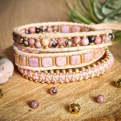 Bracelet Wrap en Rhodonite