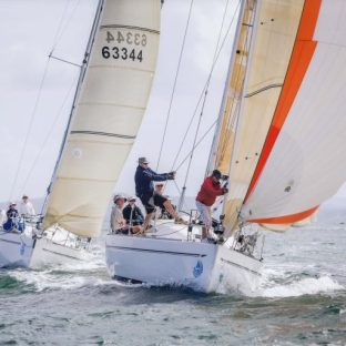 "G-whizz (briefly) ahead of ""Koko"" an Elan 37. Sail Port Stephens 2015. Picture Craig Greenhill Saltwater Images"