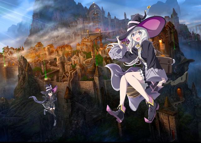 Gambar teaser untuk anime TV Majo no Tabitabi mendatang, alias The Journye of Elaina, menampilkan penyihir Elaina dan temannya yang mengendarai sapu dari kota berdinding gothic.