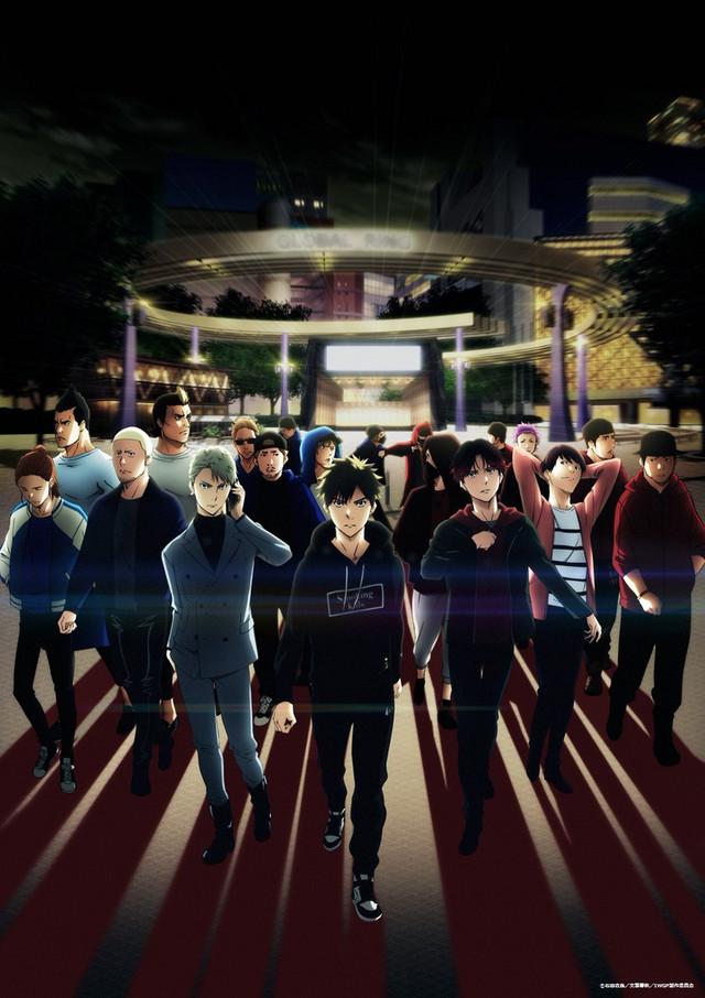 Sebuah visual kunci untuk anime TV Taman Gerbang Barat Ikebukuro yang akan datang, menampilkan para pemeran utama berkumpul secara dramatis di lapangan umum Ikebukuro pada malam hari.