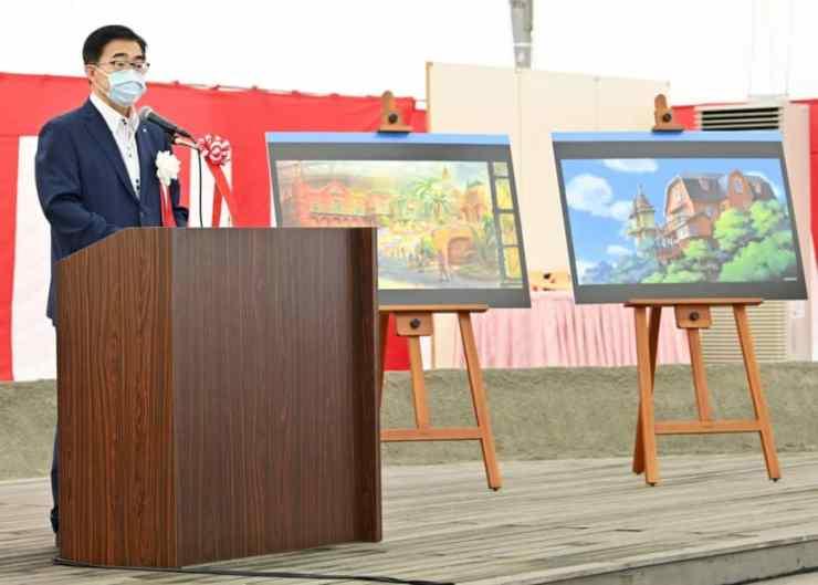 Gubernur Aichi Hideaki Omura pada upacara peletakan batu pertama