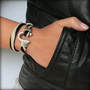 Bracelet femme cuir a poils zèbre fer a cheval 2