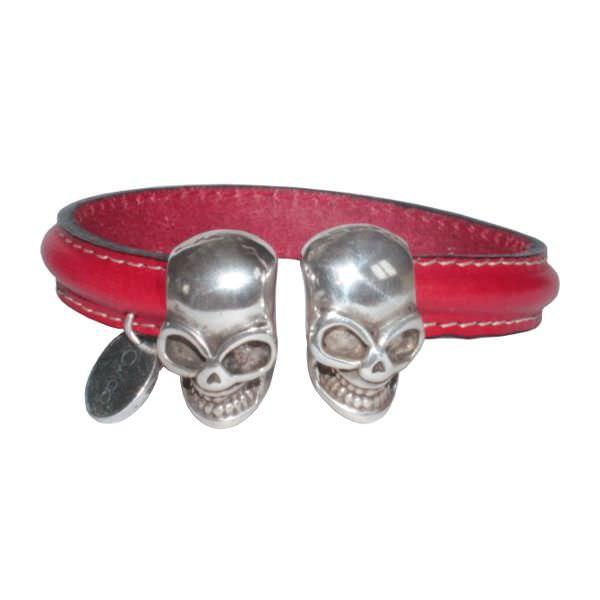 Bracelet cuir femme demi jonc tête de mort rouge profond