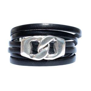 Bracelet cuir femme triple tour fermoir gros maillon noir
