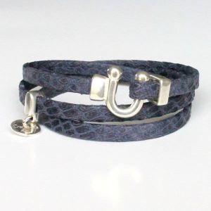 Bracelet cuir femme 3 tours Reptile serpent bleu marine