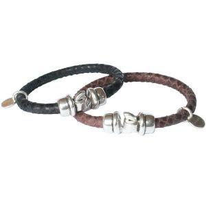 Bracelet cuir femme cordon cuir reptile surpiqué marron fermoir crochet