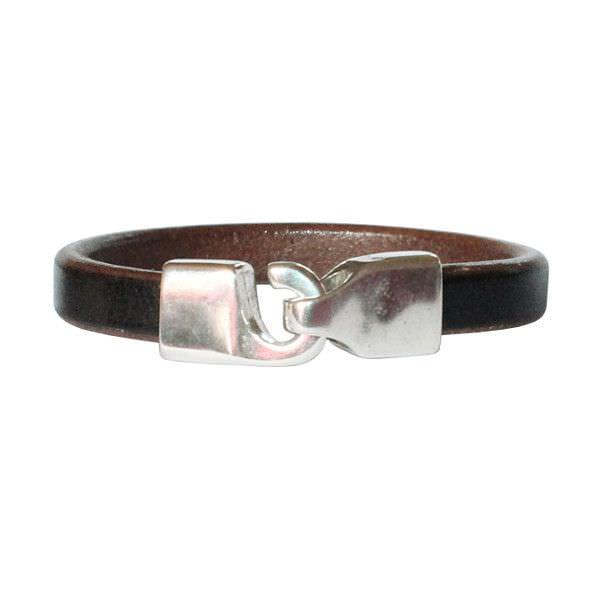 "Bracelet homme cuir ""Hook"" noir marron"