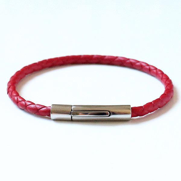 """Bracelet cuir homme tressé rouge """"Kabbale"""" fermoir acier 1"""