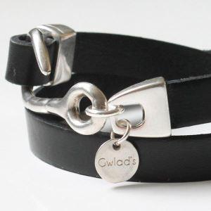 Bracelet cuir femme 2 tours Hameçon noir 2