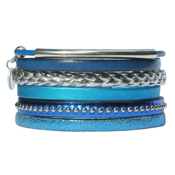"""Bracelet femme cuir manchette bleu électrique """"Clair De Lune"""""""