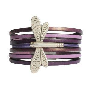 """Bracelet enfant cuir manchette """"Libellule"""""""