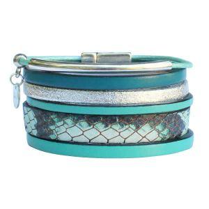 """Bracelet femme cuir manchette vert turquoise argenté """"Cayenne"""" 1"""