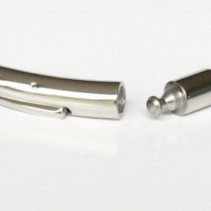 Bracelet homme cuir camel fermoir acier perles acier 2