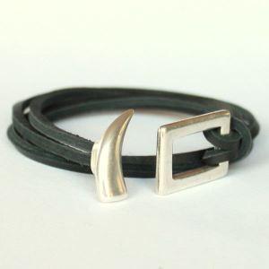 Bracelet cuir homme cordon cuir double tour Corne 2