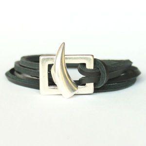 Bracelet cuir homme cordon cuir double tour shark Corne 1