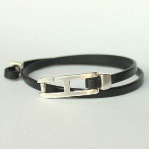 Bracelet cuir homme double tour H 2