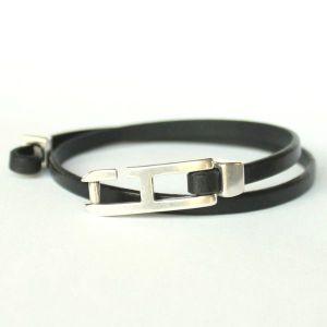 Bracelet cuir homme double tour noir fermoir h 2