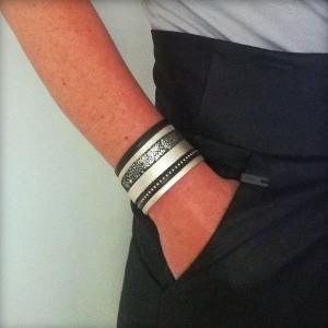 Bracelet cuir femme manchette Or Noir Gold Doré 4