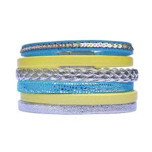 """Bracelet cuir femme manchette argenté turquoise jaune """"Shine"""" 1"""