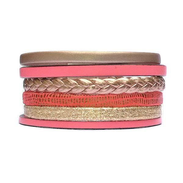 Bracelet cuir femme manchette Or doré tressé Corail 1