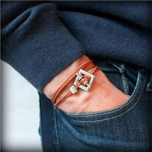 """Bracelet homme cuir cordon 3 tours """"Square"""" 3"""
