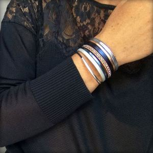 Bracelet femme cuir manchette strass swarovski bleu marine métallisé rose doré 3