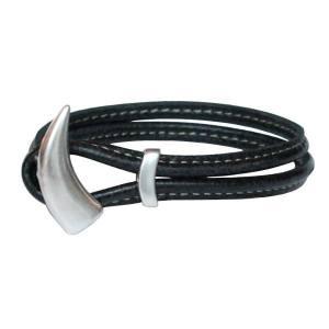"""Bracelet enfant cuir surpiqué noir """"Shark"""""""