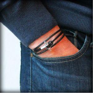 """Bracelet homme cuir cordon multi liens """"Alter""""2"""