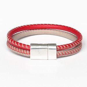 Bracelet homme cuir surpiqué rouge beige 1