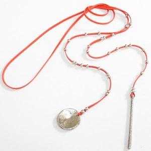 Collier cuir femme lacet de cou ras de cou orange corail