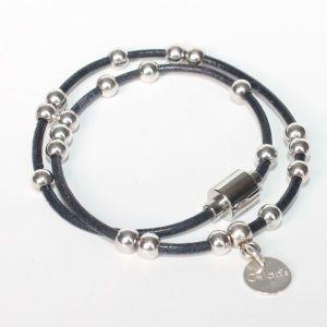 Bracelet cuir enfant fille double tour perle bille argent massif 925 fermoir aimanté 2