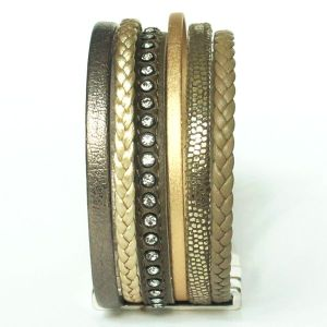 Bracelet manchette femme cuir tressé multi liens vert kaki doré strass 2