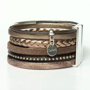 Bracelet manchette femme cuir tressé multi rangs marron glacé Terre d'ombre 1