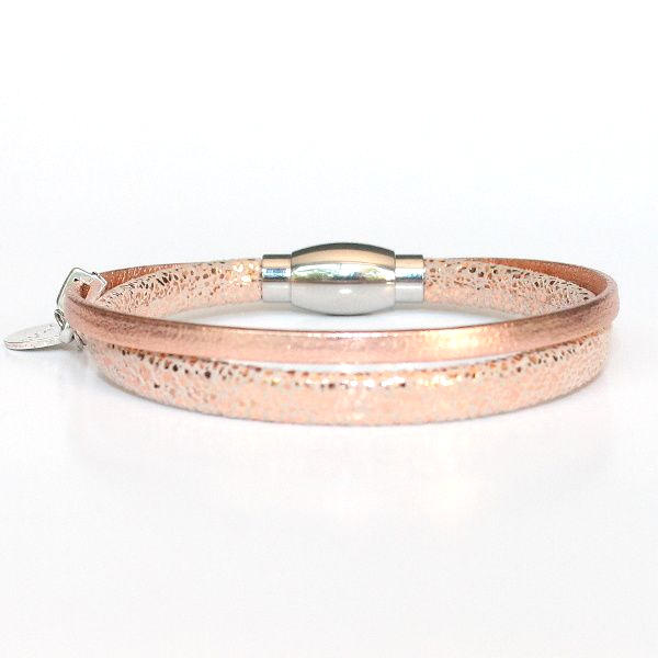 bracelet enfant fille cuir pailleté rose nude doré Shine 1