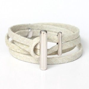 Bracelet femme cuir blanc écru façon reptile Naja 2