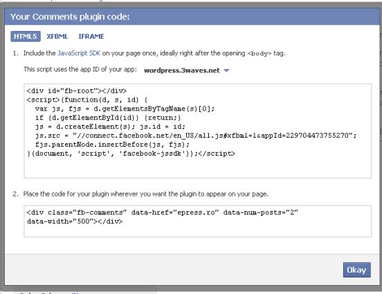 facebook comments plugin - get code
