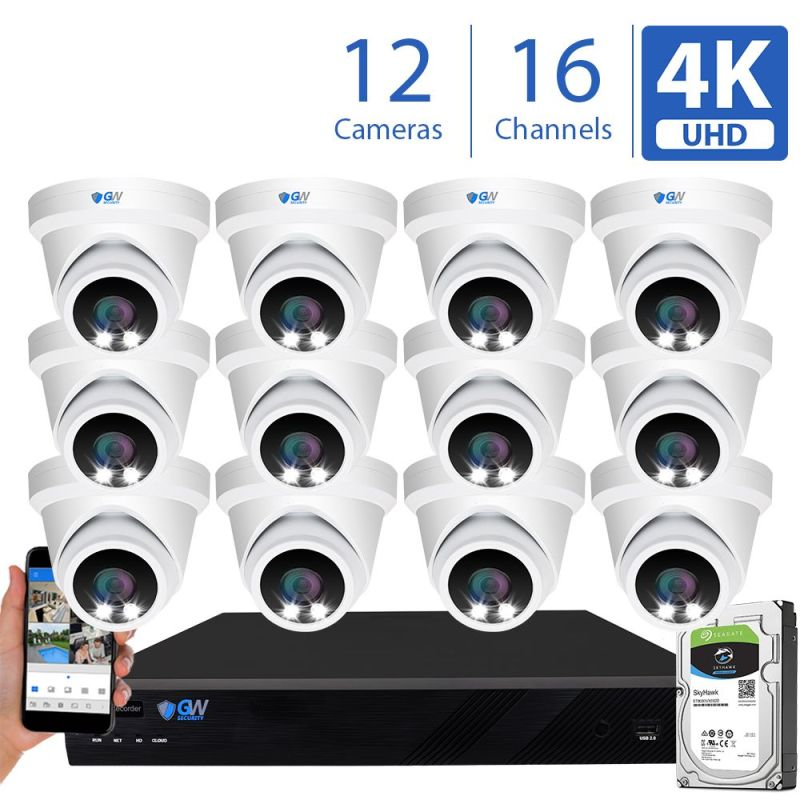 8093fmic 16 Channel 12 Camera 8MP IP PoE Security Camera System