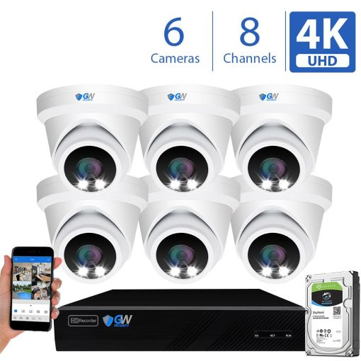 8093fmic 8 Channel 6 Camera 8MP IP PoE Security Camera System