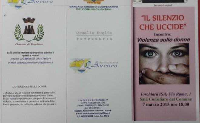"""TORCHIARA – Incontro sulla violenza di genere: """"Il silenzio che uccide"""""""