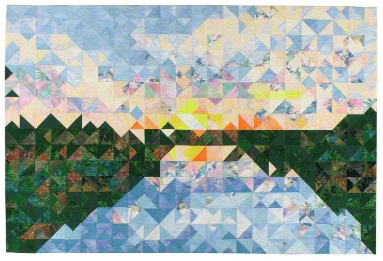 The sky, river, and marshy grasslands are created from over 2,500 individual squares and triangles.