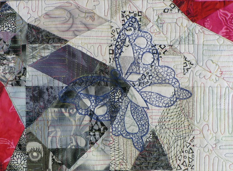 A detail image of the background quilting and thread painting used on Out of the Ashes.