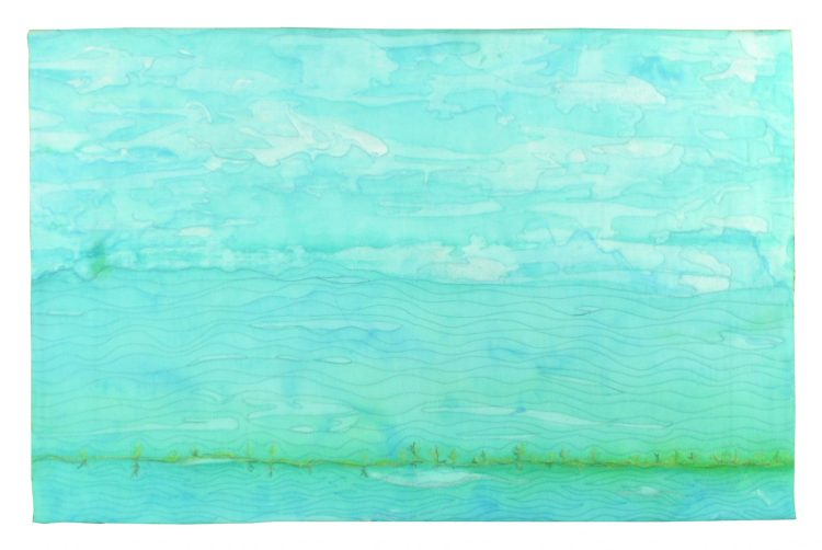A very subtle turquoise color block representing both sky and water. A thin green, acting as a horizon bisects the background