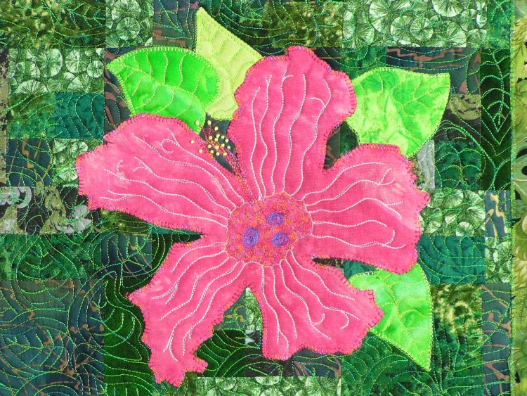 A single pink hibiscus blossom appears to float on chartreuse leaves with a deeper green background