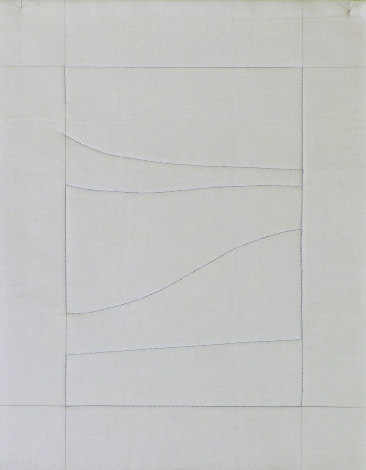 A simple white rectangle of white muslin is marked with the blue print for my SAQA 2021 Trunk Show offer. All lines are horizontal, befitting a landscape. Some are straight. Others are gentle curves.