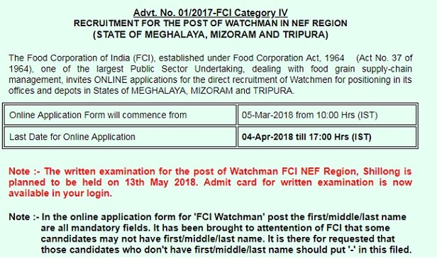 FCI NEF Region Admit Card