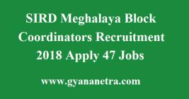SIRD Meghalaya Block Coordinators Recruitment