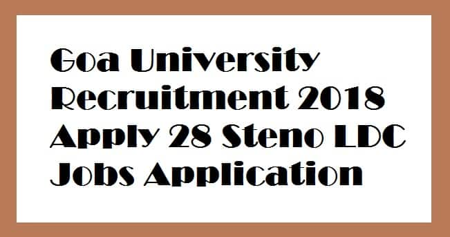 Goa University Recruitment