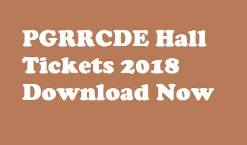 PGRRCDE Hall Tickets