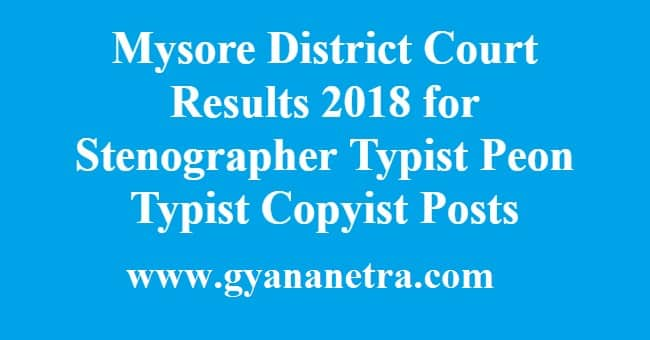 Mysore District Court Results
